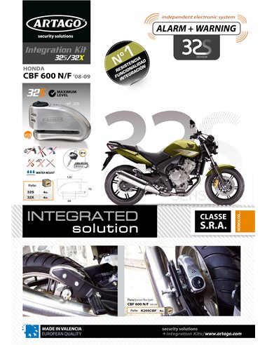 Soporte Artago de Candado de Disco 32/32X para Honda CBF600 N/S '08