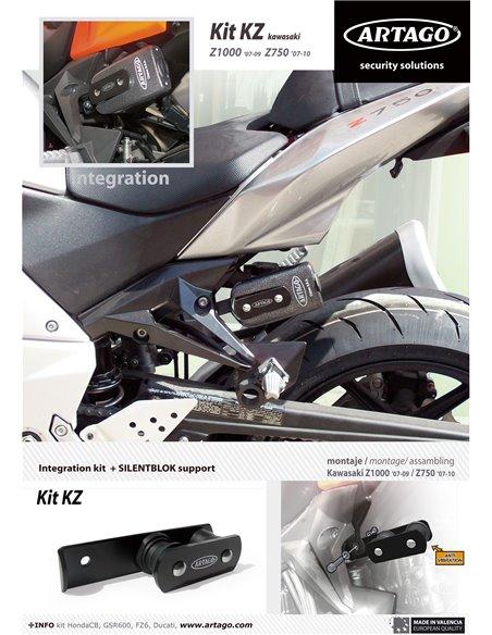 Soporte Artago de Candado 69T / 69X para Kawasaki Z1000 '07-09 y Z750 '07