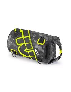 Bolsa Cilíndrica Impermeable Givi para Sillín o Portapaquetes, 30 litros, con gráfica camuflaje gris y amarillo