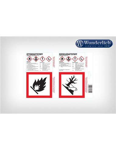 Etiqueta adhesiva para depósito de combustible