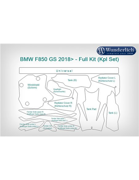 Set Completo de Protección de pintura  Venture Shield para BMW  F 850 GS (2018 -2019)